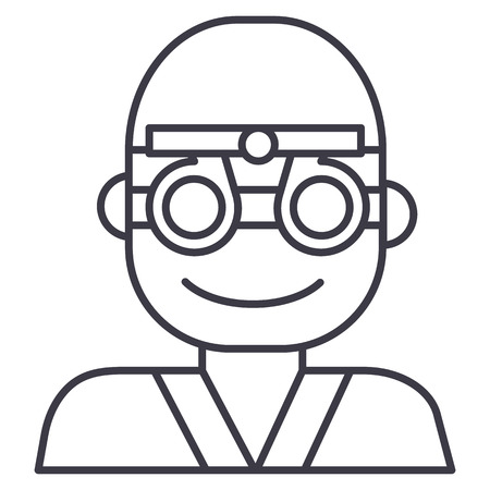 oculist,ophthalmologist,eye doctor vector line icon, sign, illustration on white background, editable strokes 向量圖像