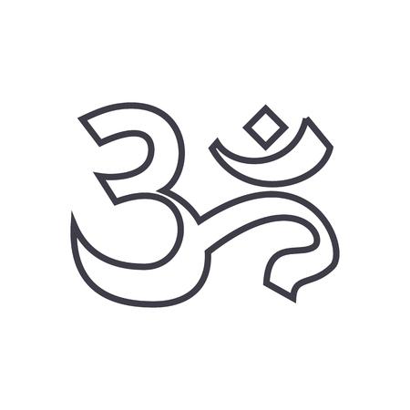 om、インド、瞑想ベクトル線アイコン、記号、白い背景に、編集可能なストロークの図