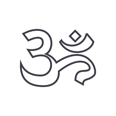 om,india,meditation vector line icon, sign, illustration on white background, editable strokes Illustration