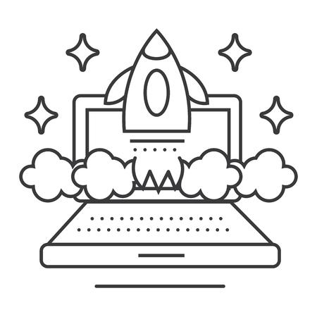 온라인 비즈니스 시작 벡터 라인 아이콘, 기호, 흰색 배경에 그림 편집 가능한 획