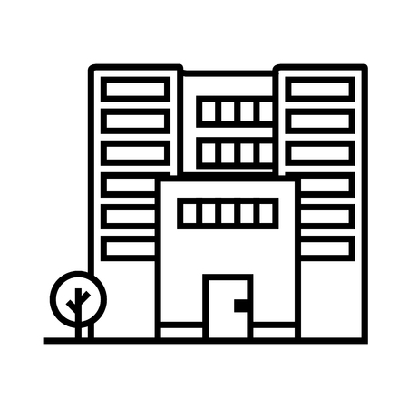 office building vector line icon, sign, illustration on white background, editable strokes Illustration