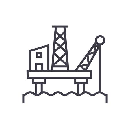 oil platform vector line icon, sign, illustration on white background, editable strokes
