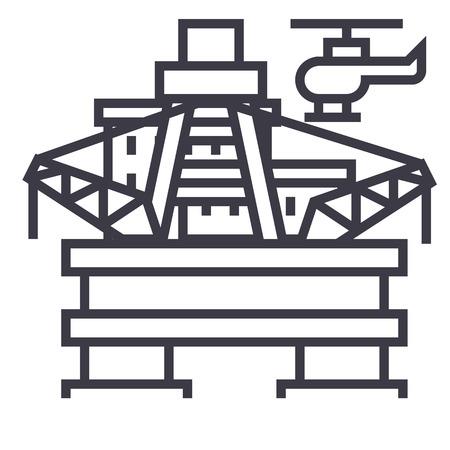 oil platform, rig vector line icon, sign, illustration on white background, editable strokes
