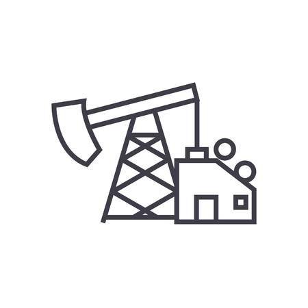 oil pump jack vector line icon, sign, illustration on white background, editable strokes