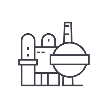 oil refinery vector line icon, sign, illustration on white background, editable strokes