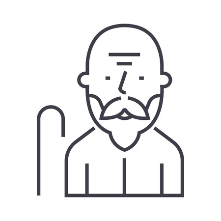 old man vector line icon, sign, illustration on white background, editable strokes