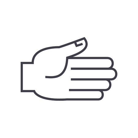 open hand  vector line icon, sign, illustration on white background, editable strokes