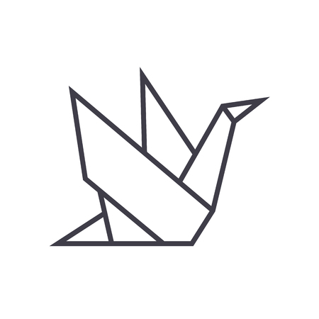 origami vector line icon, sign, illustration on white background, editable strokes