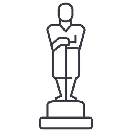 oscar,trophy vector line icon, sign, illustration on white background, editable strokes Иллюстрация