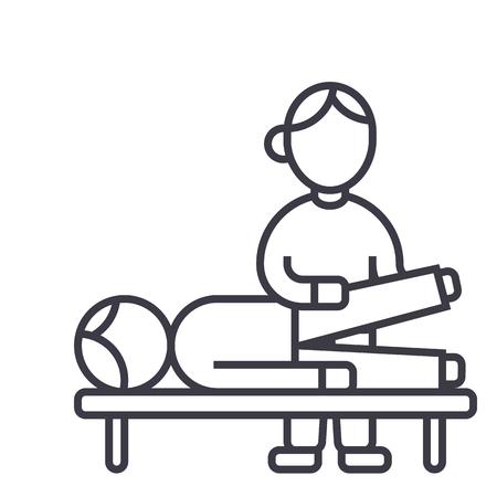 Osteopathie, manuelle Therapie, Massage Vektor Liniensymbol, Zeichen, Illustration auf weißem Hintergrund, editierbare Striche Standard-Bild - 87222481