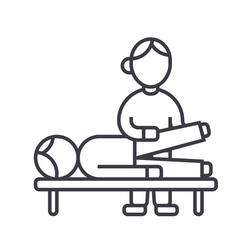 osteopathy,manual therapy,massage vector line icon, sign, illustration on white background, editable strokes