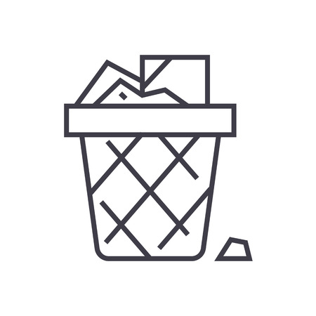 paper bin,office garbage vector line icon, sign, illustration on white background, editable strokes