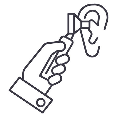 otoscope ear,ent,otolaryngologist,doctor vector line icon, sign, illustration on white background, editable strokes