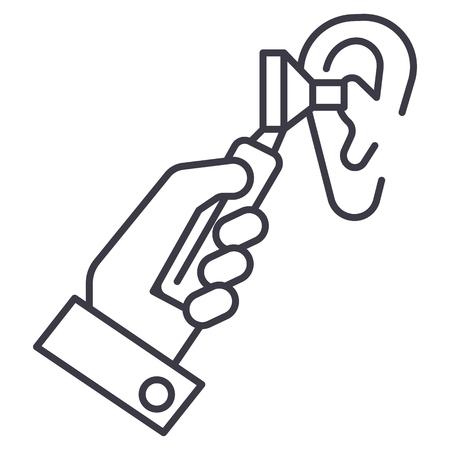 otoscope ear,ent,otolaryngologist,doctor vector line icon, sign, illustration on white background, editable strokes