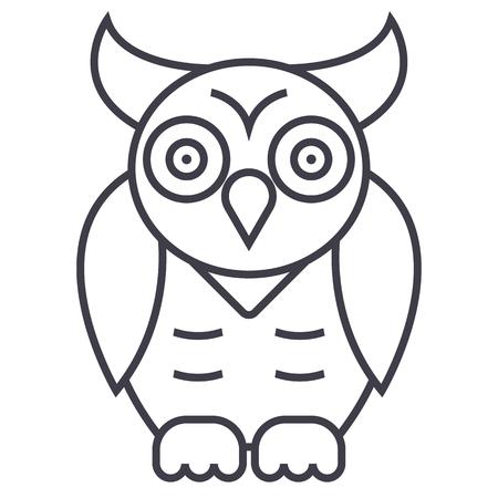 올빼미, 지혜 벡터 선 아이콘, 기호, 흰색 배경에 그림 편집 가능한 획