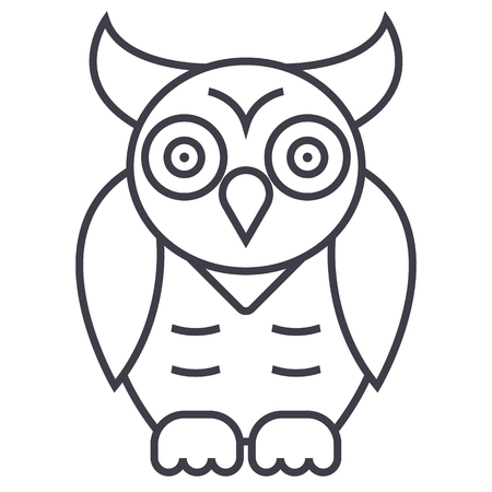 owl,wisdom vector line icon, sign, illustration on white background, editable strokes