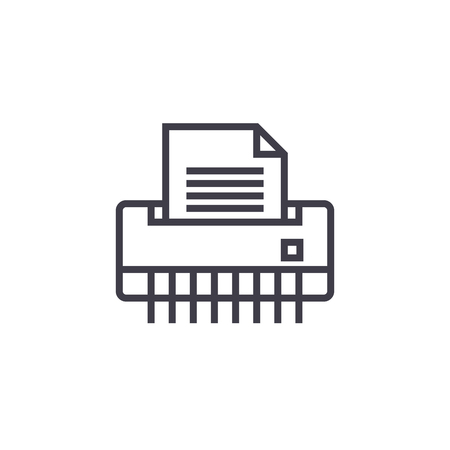 paper shredder,office printer vector line icon, sign, illustration on white background, editable strokes