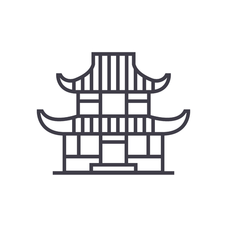 pagoda vector line icon, sign, illustration on white background, editable strokes