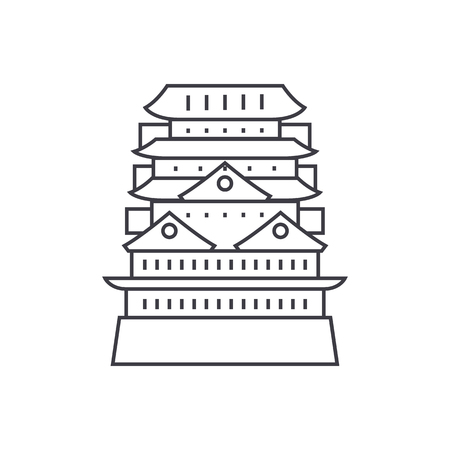 pagoda,asian temple vector line icon, sign, illustration on white background, editable strokes