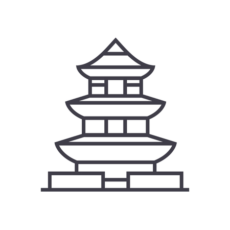 pagoda,japan vector line icon, sign, illustration on white background, editable strokes