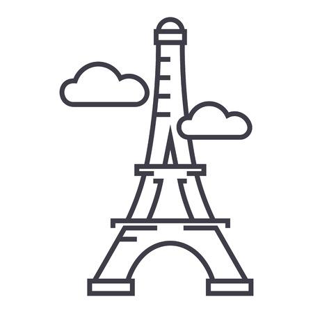 parijs, eiffeltoren vector lijn pictogram, teken, illustratie op witte achtergrond, bewerkbare lijnen