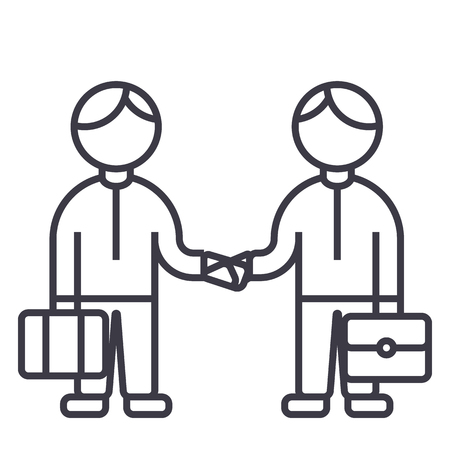 partnership handshake,working together vector line icon, sign, illustration on white background, editable strokes Illustration