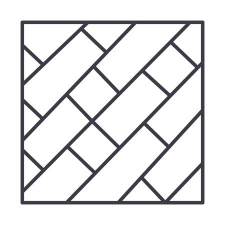 寄木細工ベクトル線アイコン、記号、白い背景に、編集可能なストロークの図  イラスト・ベクター素材