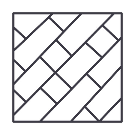 parquet vector line icon, sign, illustration on white background, editable strokes Иллюстрация