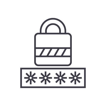 password,login lock vector line icon, sign, illustration on white background, editable strokes Stock Vector - 87222511