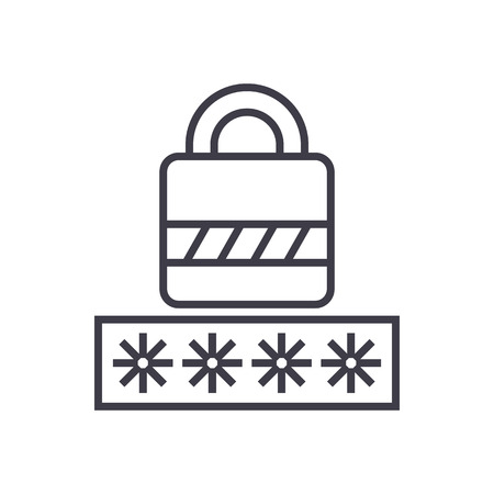 password,login lock vector line icon, sign, illustration on white background, editable strokes Illustration