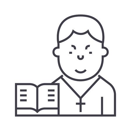 牧師ベクトル線アイコン、記号、白い背景に、編集可能なストロークの図