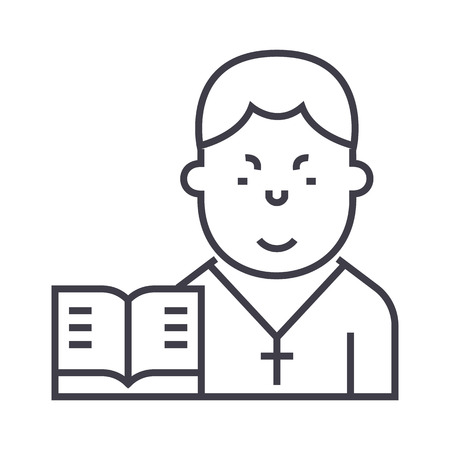 목사 벡터 라인 아이콘, 기호, 흰색 배경에 그림 편집 가능한 획