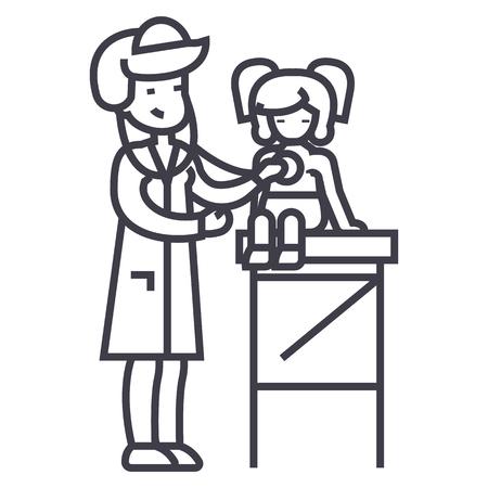 Kinderarzt Arzt, Frau Doktor macht ärztliche Untersuchung des jungen Mädchens Baby mit Stethoskop Vektor Symbol, Zeichen, Illustration auf weißem Hintergrund, editierbare Striche Standard-Bild - 87222518