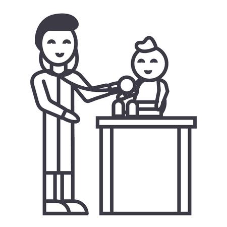어린이, 소아과 의사와 함께 소아과 벡터 라인 아이콘, 기호, 흰색 배경에 그림 편집 가능한 획 일러스트