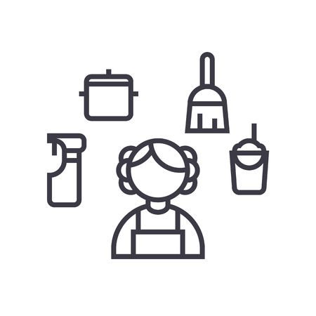 personal maid,houskeeping woman,cleaning service vector line icon, sign, illustration on white background, editable strokes Illustration