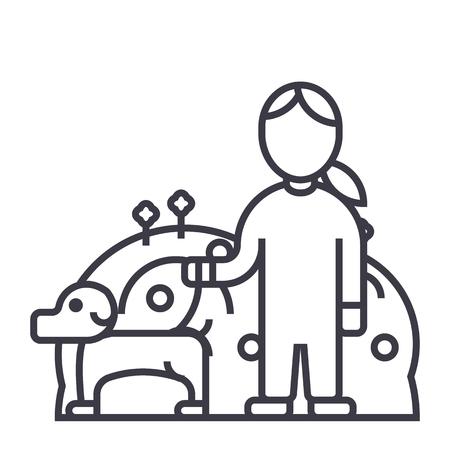 huisdieren zorg, hond met vrouw, dierenverzorging vector lijn pictogram, teken, illustratie op witte achtergrond, bewerkbare lijnen