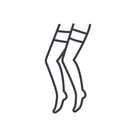pantyhose vector line icon, sign, illustration on white background, editable strokes
