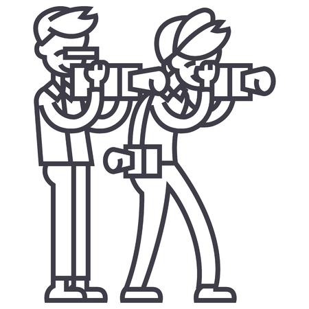 paparazzi vector line icon, sign, illustration on white background, editable strokes Illustration