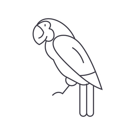 parrot vector line icon, sign, illustration on white background, editable strokes