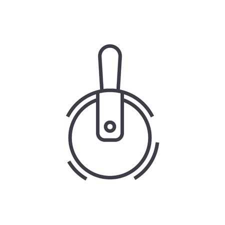 ピザ カッター ベクトル線アイコン、記号、白い背景に、編集可能なストロークの図