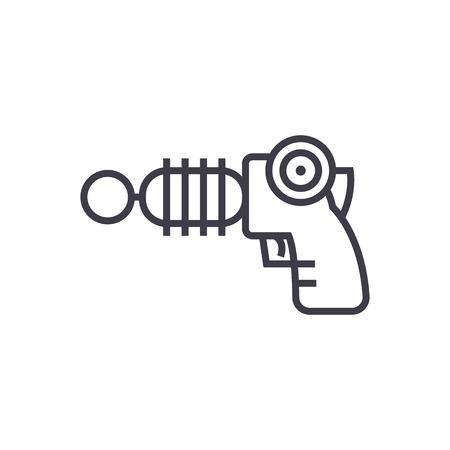 plasma gun vector line icon, sign, illustration on white background, editable strokes Illustration