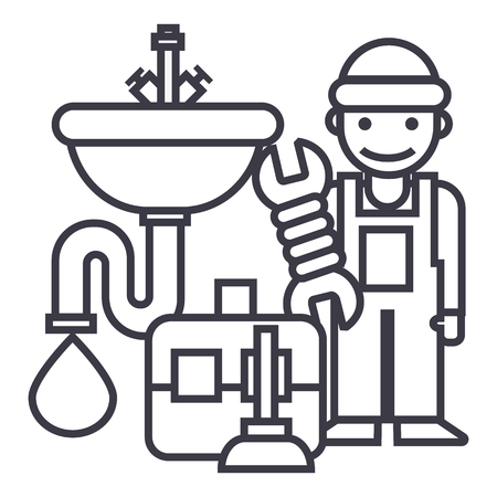 plumber service,tools,sink vector line icon, sign, illustration on white background, editable strokes