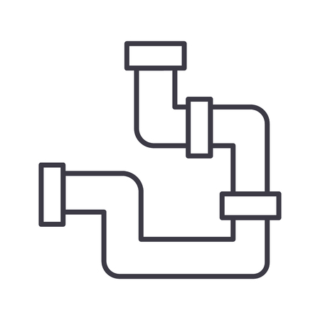 plumbing pipes vector line icon, sign, illustration on white background, editable strokes