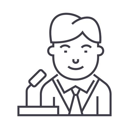 politican vector line icon, sign, illustration on white background, editable strokes Illustration