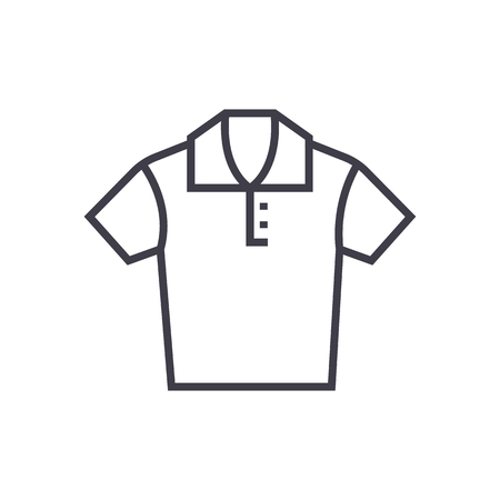 polo shirt vector line icon, sign, illustration on white background, editable strokes Illustration