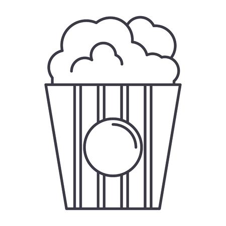 popcorn vector line icon, sign, illustration on white background, editable strokes