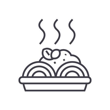Brei mit Fleischbällchen Vektor Liniensymbol, Zeichen, Illustration auf weißem Hintergrund, editierbare Striche Standard-Bild - 87222554