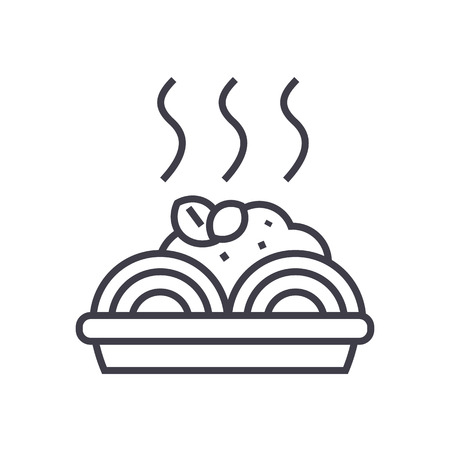 porridge with meatballs vector line icon, sign, illustration on white background, editable strokes