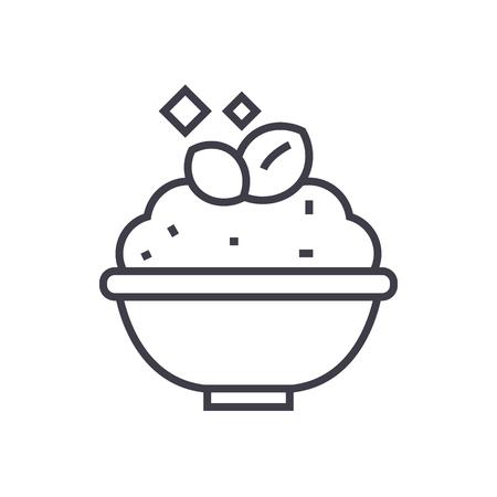 porridge,cereal bowl vector line icon, sign, illustration on white background, editable strokes