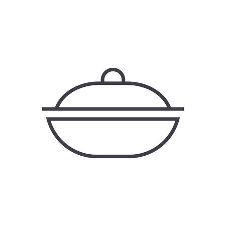 pot vector line icon, sign, illustration on white background, editable strokes